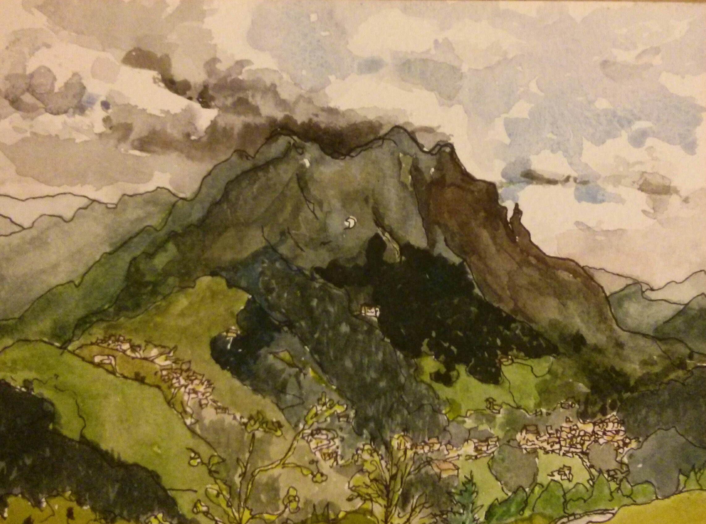 pen and watercolour original of Mount Arera in Italy