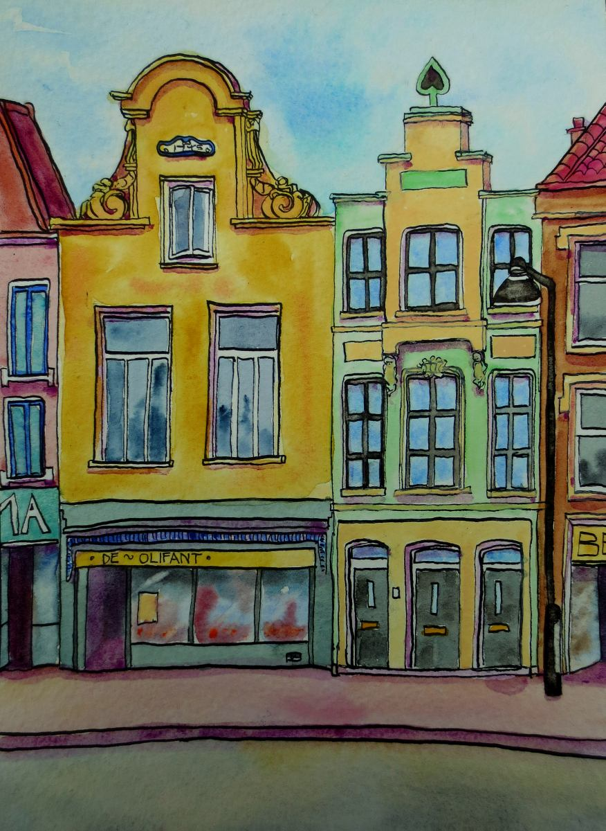 watercolour - Dutch buildings