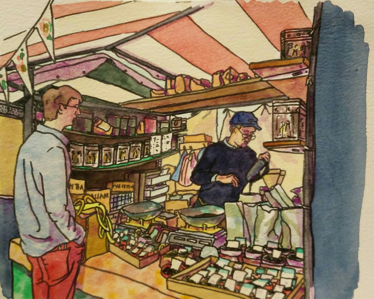 pen and watercolour of market stall selling teas and coffee