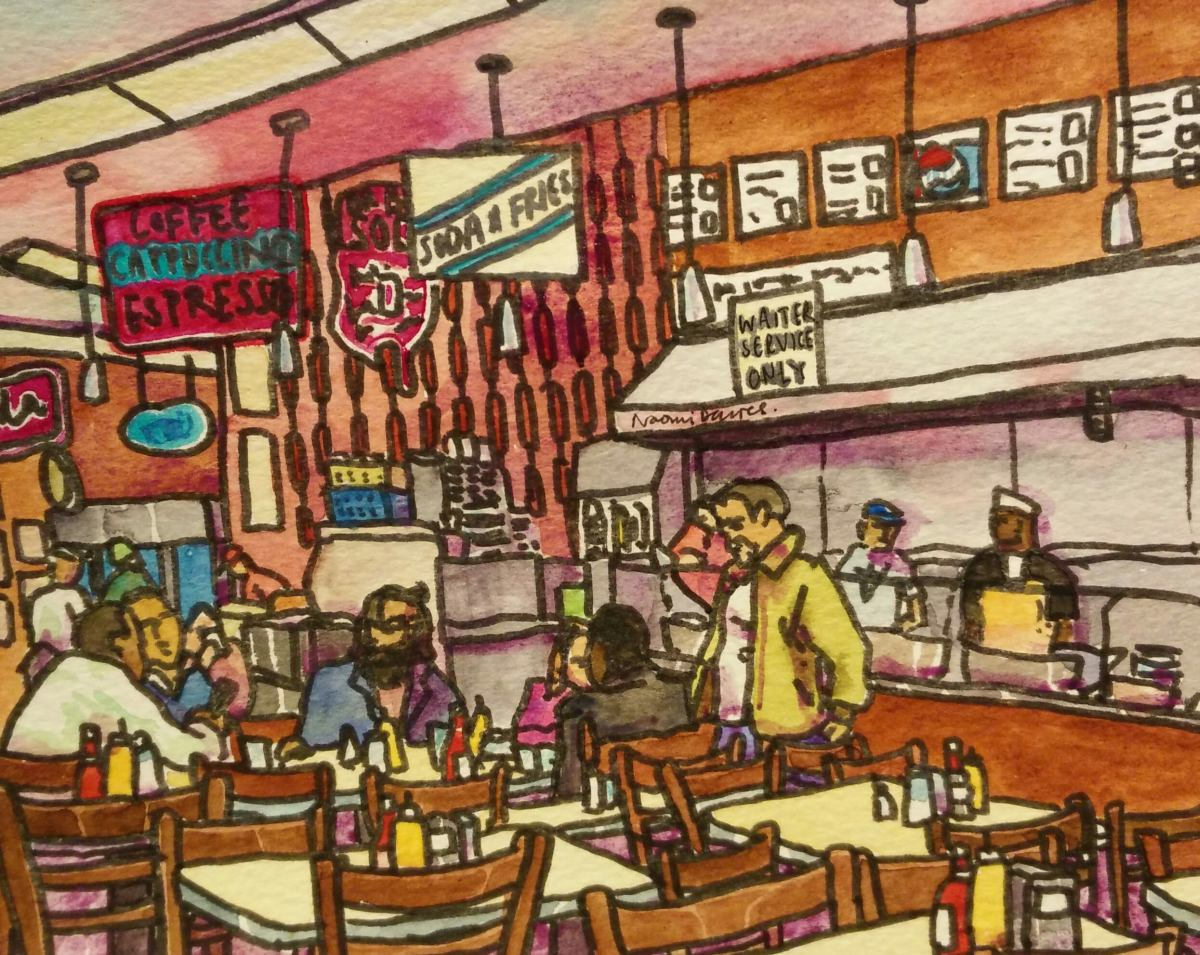 pen and watercolour Katz's Delicatessen, New York