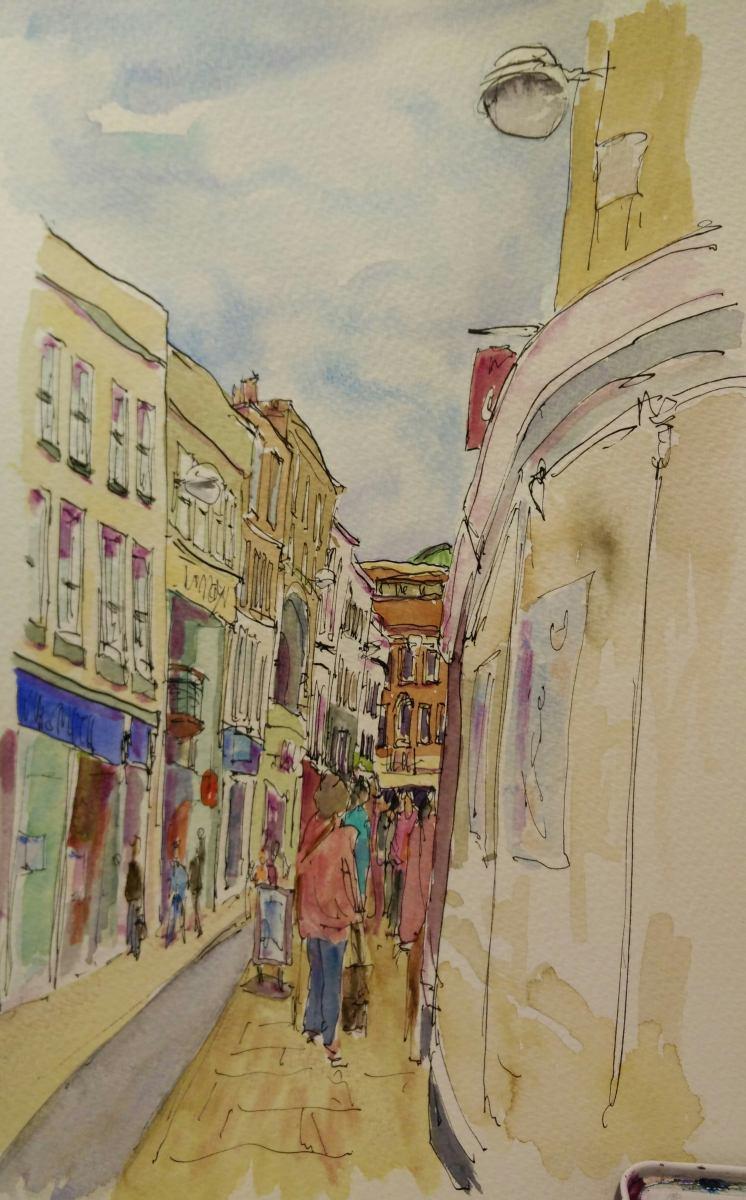 watercolour - Market Hill, Cambridge