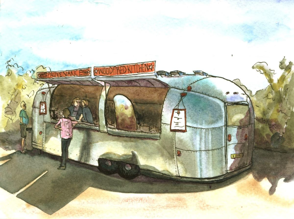watercolour - Provenance Kitchen airstream van Cambridge
