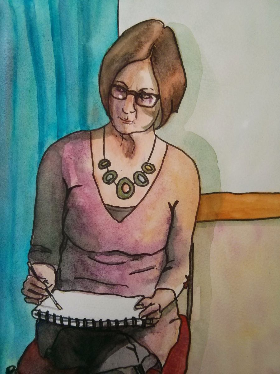 pen and watercolour portrait of a woman drawing