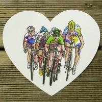 A watercolour of Tour de France sprinters arriving at the Tour de France finish line in a heart shape