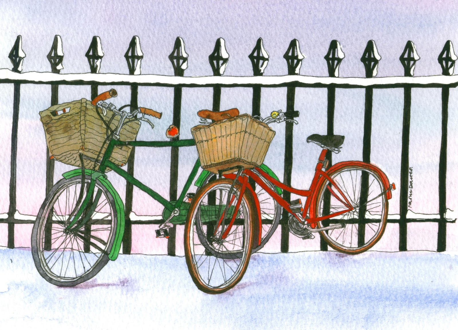 pen and watercolour of two bicycles in the snow