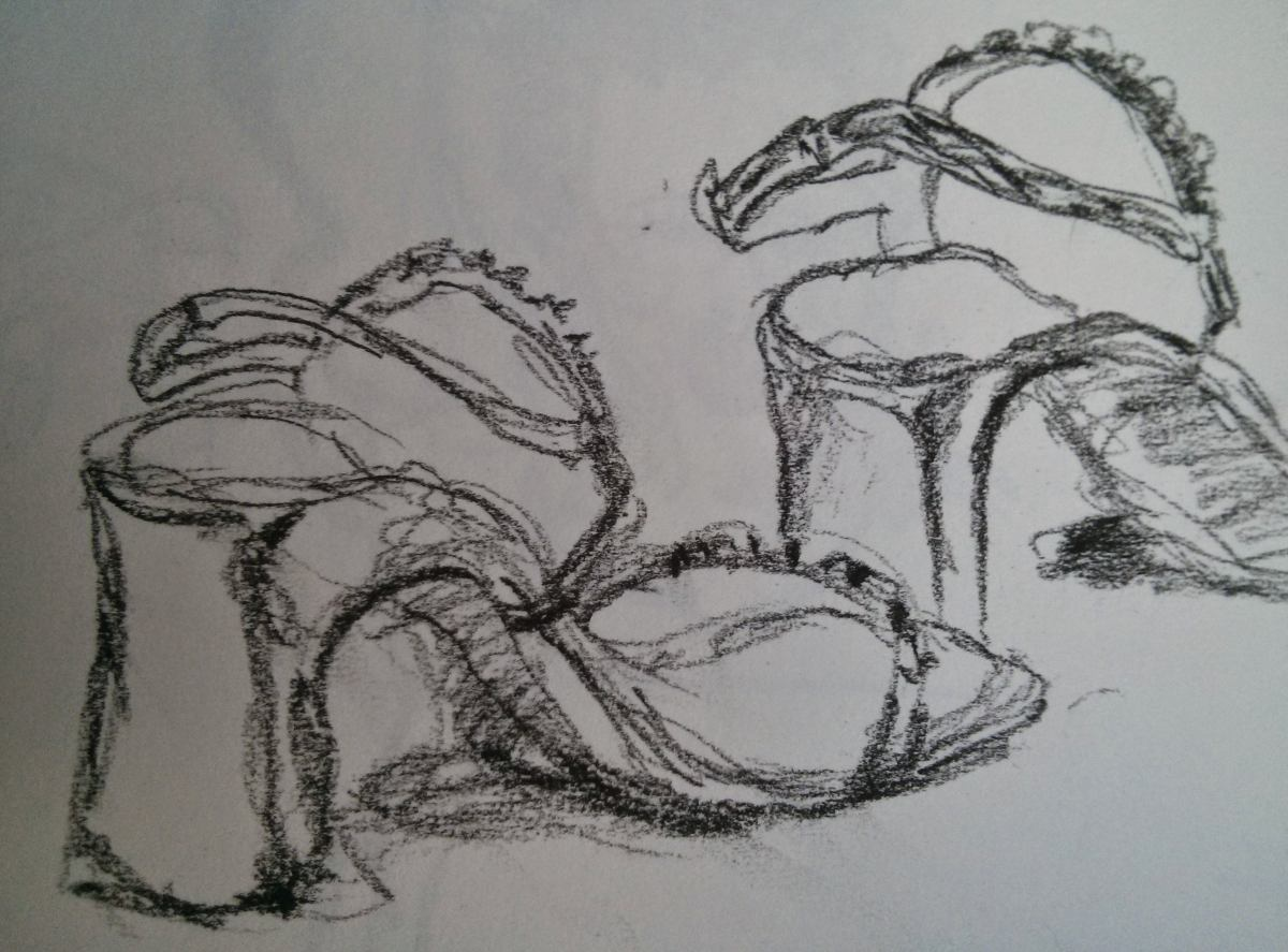 charcoal sketch of sandals