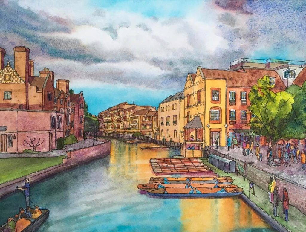 New painting View from Magdalene Bridge Cambridge ang cambridgeart watercolorhellip