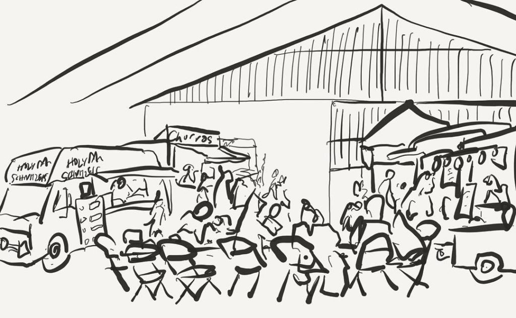 Lovely to be back at foodPark Nightmarket Quick ipadsketch cambridgehellip