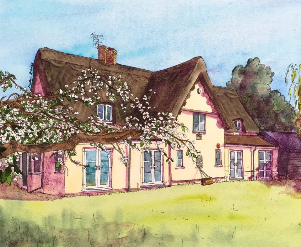 New commission Cambridge farmhouse pen and watercolour homeiswheretheheartis thatched cottagehellip