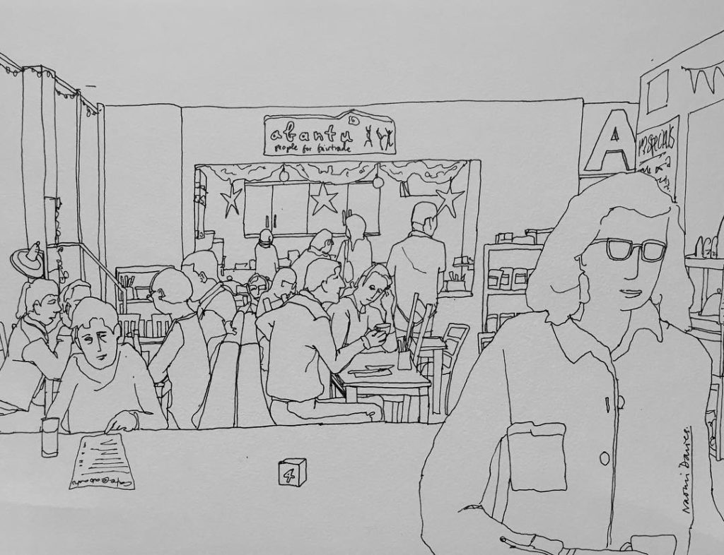 Drawing of the last day trading for cafeabantu at Wysinghellip