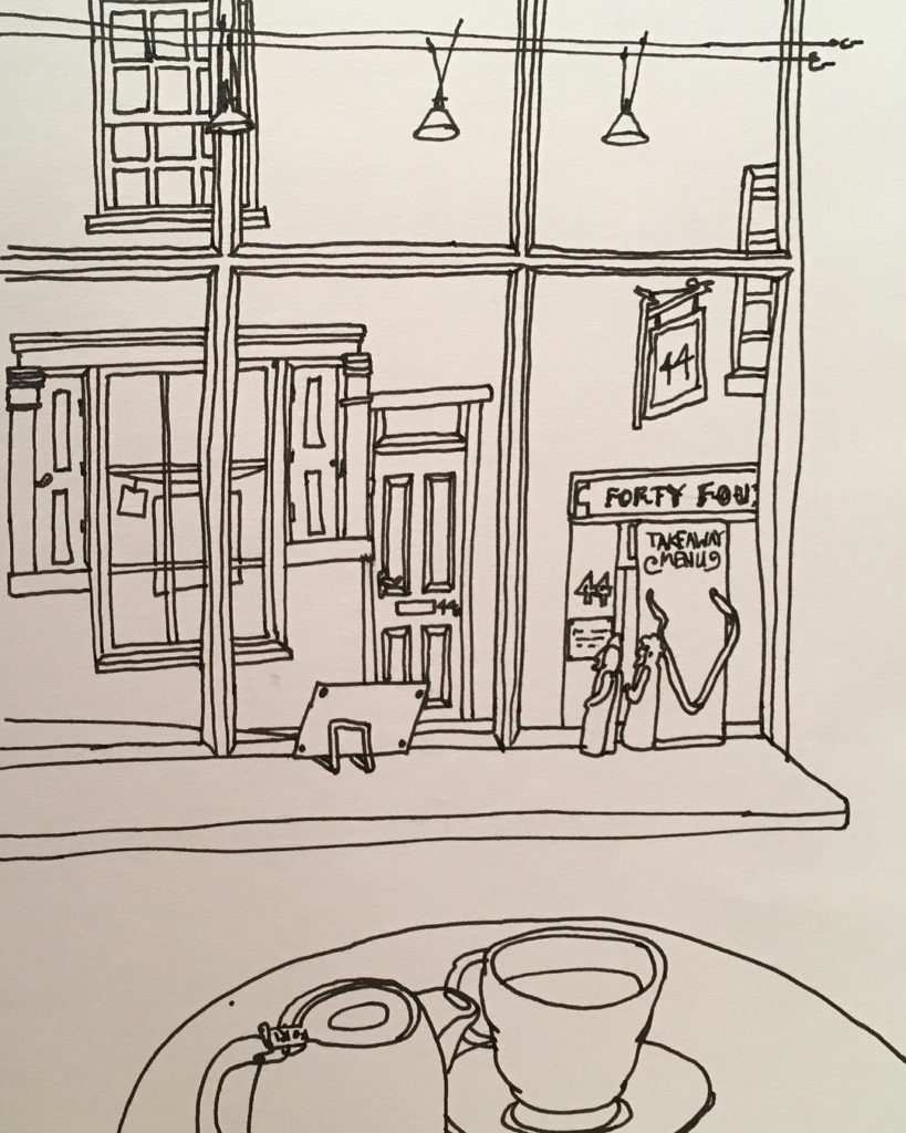 urbansketch at lincoln today Drawn in pimentotearooms of fortyfourshop oppositehellip