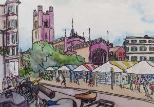 Cambridge Market with bikes