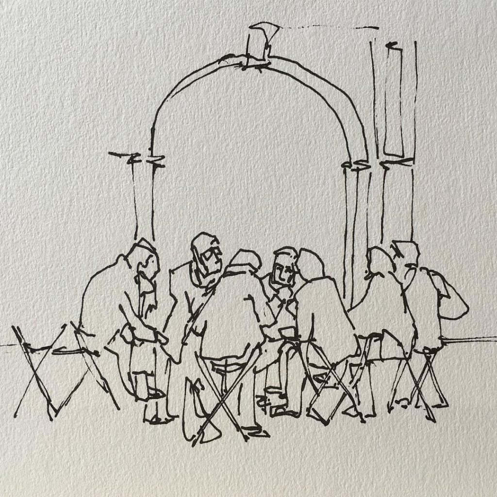 Animated discussion group at leedsartgallery  3 minute sketch urbansketcherhellip