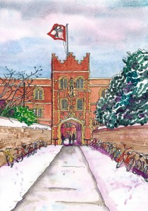 Jesus College in the snow