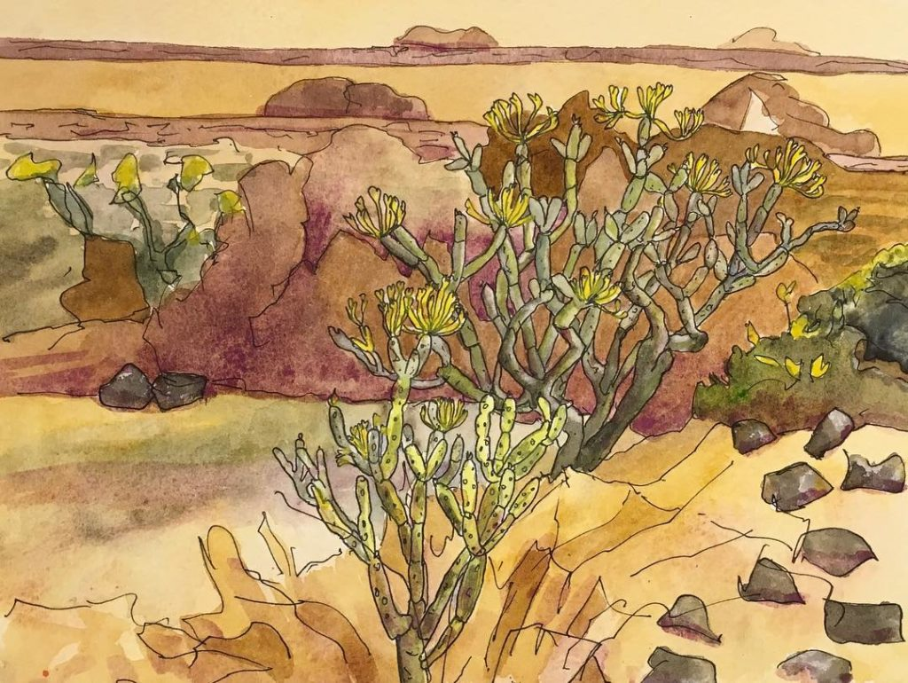 penandwatercolor of lanzarote succulents cactus desert watercolour brown artistonholiday artistsofinstagramhellip