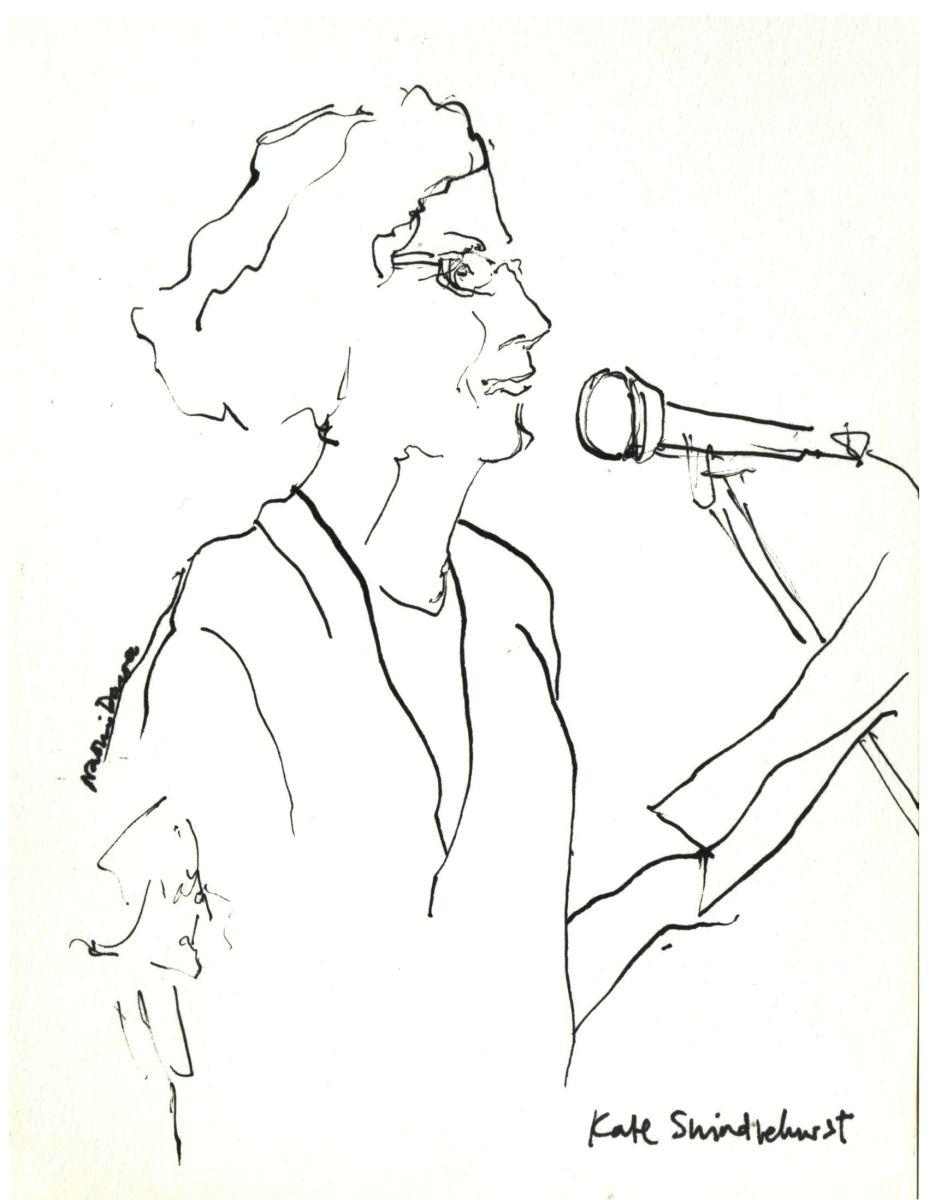 pen drawing of Kate Swindlehurst
