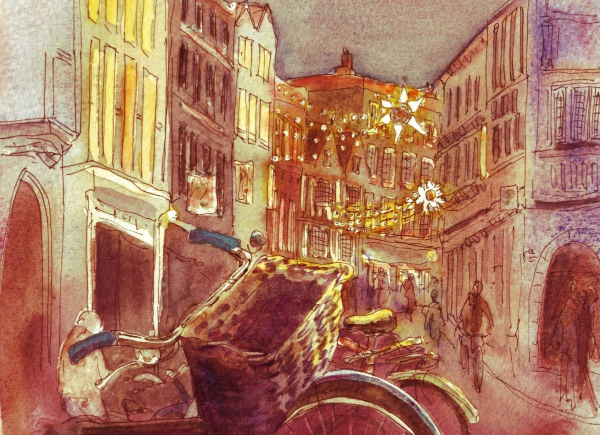 pen and watercolour of Trinity Street Cambridge with bicycle in foreground